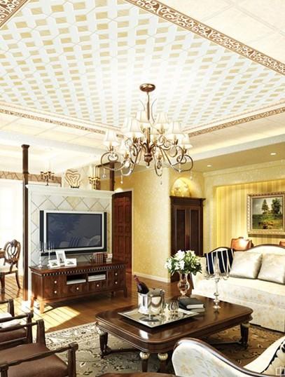 客厅集成吊顶效果图:奢华欧式设计图