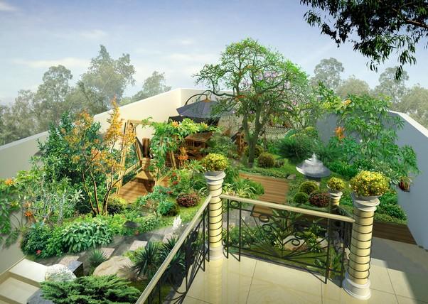 屋顶花园装修效果图:屋顶花园的意义何在呢?首先,改善生态环境,增加城市绿化面积;其次,改善室内环境,调节室内温度,尤其防止了顶楼夏季阳光直射造成的室温过高现象;最后,一定程度上提高了楼梯本身的防水作用。    屋顶花园装修效果图:建造一个屋顶花园,需要考虑哪些因素呢?主要是从房屋的式样、主人的喜好、精力、经济投入、园子的大小、形状、朝向等因素,配上适当的植物进行总体规划和合理布局,才能建好具有个性的屋顶花园。