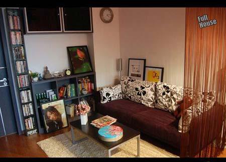 45平方小户型装修:先上客厅整体效果图