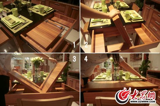 下面就是桌子变形的步骤图了.餐桌两侧均可进行延展
